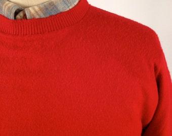 Vintage 50s/60s Red Crew Neck Sweater by Pilgrim Size Medium