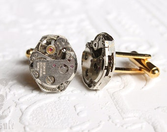 Steampunk Wedding Vintage Gold Plated Diamond Shaped Cufflinks with Vintage Swiss Seventeen Ruby Jewels Watch Movement