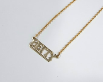 Vintage 70s Block Letter Betty Nameplate Necklace