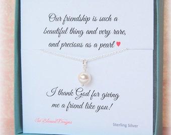Friendship Necklace, Best Friend Gift, Pearl necklace, Friendship jewelry, real pearl jewelry