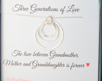 GRANDMA necklace, Grandmother Gift 3 Generations, Grandmother Mother and Granddaughter, Sterling Silver, Keepsake jewelry