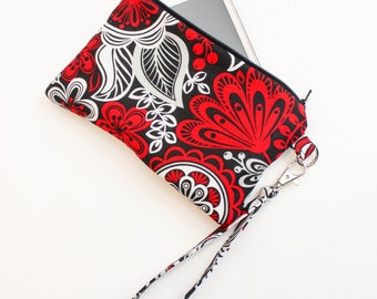 Red Floral Wristlet - Cell Phone Wristlet - Cell Phone Purse - Red and Black Wristlet