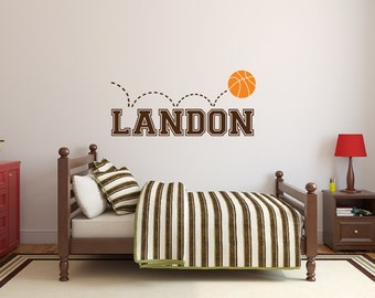 Nursery Name Decal - Basketball Decor - Boys Name Wall Decal - Wall Decor - Sports Wall Decor Personalized Name Decal Vinyl Wall Decal