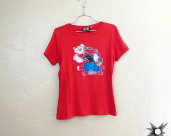 Vintage 1970's The Great Lite Company Red Popeye Glitter Screen Decal Light Up Cap Sleeve Baby Tee Size Medium/ Large
