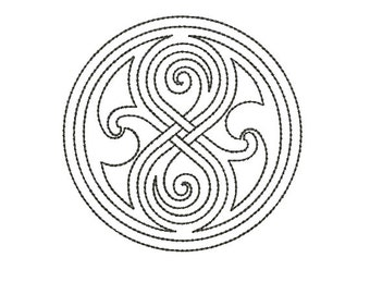 Machine Embroidery Design Instant Download - Doctor Who Seal of Rassilon Quilting Redwork