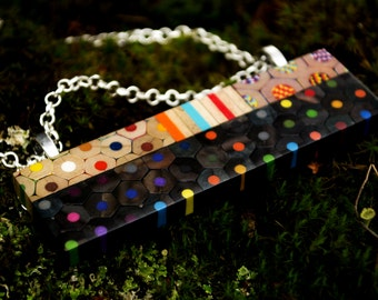 Rectangle necklace from colored pencils
