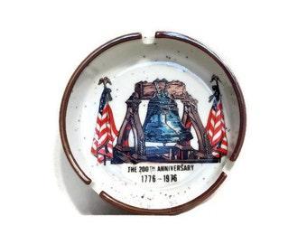 Vintage Ashtray Bicentennial Liberty Bell Otagiri Style Pottery 1976 Collectible 70's Stoneware Ashtray