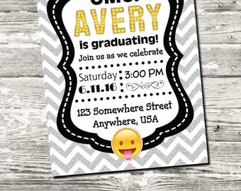 Emoji Graduation Invitation Black with Gray Chevron with free Thank You Digital Printable
