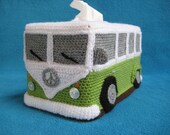 VW Campervan Bus Tissue Box Cover Crochet PATTERN  PDF Hippie Style T1 Volkswagen Van