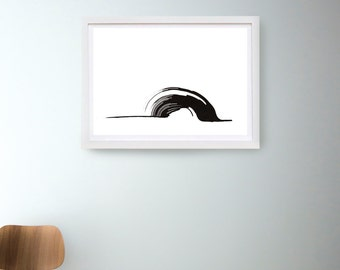 Wave-Fine art print from original abstract ink drawing - ink dark, minimal art, modern art, minimal wall art painting print black and white
