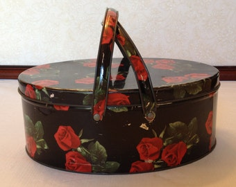 Vintage Oval Tin with Handles, Red Roses, Sewing, or Decorating, Shabby Chic Tin