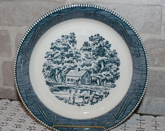 Currier and Ives 10 inch pie plate or dish Royal China Sebring Ohio blue transfer ware dinnerware Royal Pass for your Farmhouse kitchen