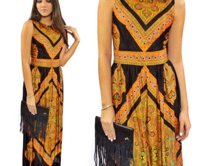 Vintage 70s Domino Fashions, Inc. Psychedelic Floral Tapestry Ethnic Print Maxi Dress