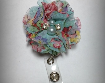 Blue Floral Chiffon Flower Badge Reel-Id holder- Retractable Nursing Badge Holder