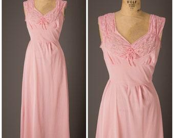 1970s Pink Nylon Nightgown