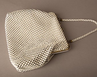 1940s White Alumesh Whiting & Davis Handbag