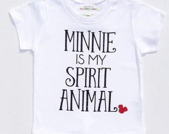MINNIE Is My Spirit Animal Baby Girls Womens Adult DIY Sparkle Decal Custom Color Sparkle Glitter