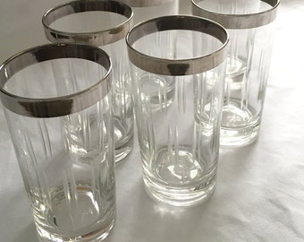Silver Rim Cocktail Glasses Mid Century Set of 6
