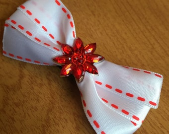 Red and White Stitched Ribbon Bow Hair Clip