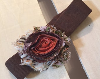 Brown Infant Headband with Removable Boho Shabby Flower Clip
