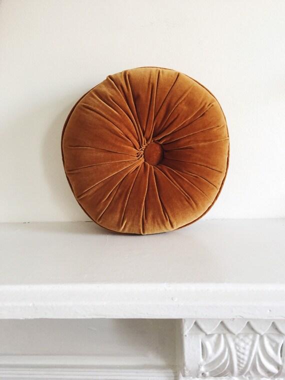 Vintage Round Camel Throw Pillow . Bohemian Pillow . Velvet