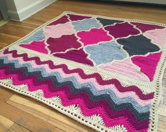 Crochet Trellis and Chevron Baby Blanket - MADE TO ORDER - Baby Girl Blanket - Handmade Shower Gift