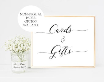 Printed Gifts and Cards Wedding Sign, Gifts Wedding Sign, Gifts Cards Wedding Sign, Modern, Calligraphy, Vintage, Wedding Gifts Sign, white