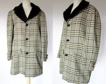 1960s 70s Pendleton coat, green plaid wool, Shearling collar and lining, Sir Pendleton, Large to XL