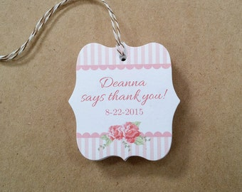 Custom baby shower tags - Striped favor tags - Pastel & roses tags - Cottage Chic theme thank you - Personalized favor tags - TB11