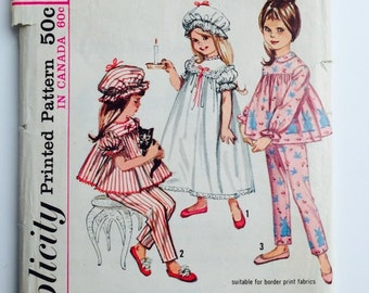 Vintage Simplicity 5080 Pattern- Girls Pajamas, Nightgown & Cap- Size 5