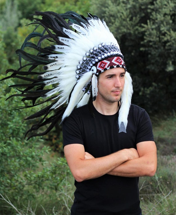 Three colors black and white Indian Feather Headdress / warbonnet double feather (30 inch / 75 cm)