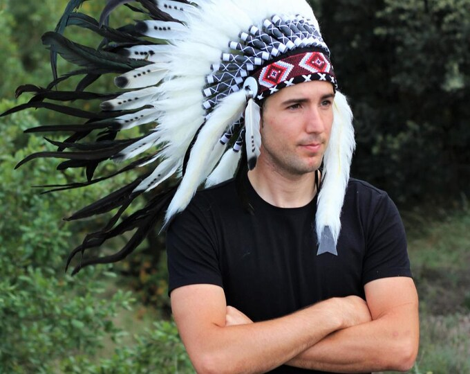 X12 - Three colors black and white Indian Style Feather Headdress / warbonnet double feather (30 inch / 75 cm)