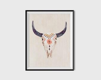 Printable poster, Wall art, Printable wall art, Bull skull poster, Boho poster, Ethnic skull poster, Nursery wall art, Rustic art print