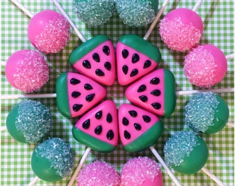 12 Watermelon Slice & Sugar Crystal Cake Pops for summer, luau, tutti frutti birthday party, hot pink, green, fruit, fruity, one in a melon