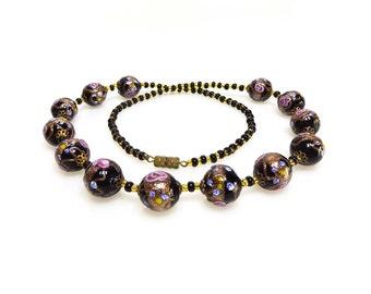 Vintage Venetian Wedding Cake Glass Bead Necklace - Gold Aventurine Beads - Black Gold Purple Necklace - Art Glass Beaded Necklace 77