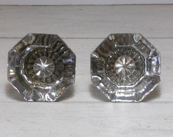 2 Antique Glass Doorknobs - Architectural Salvage