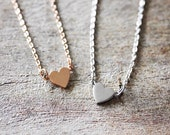 Heart necklace, rose gold necklace, silver necklace, dainty necklcae, love, birthday gift for mom, for her, valentine's day, mother's day