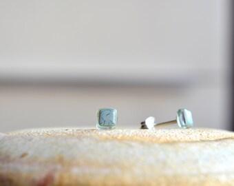 Tiny stud earrings, Cute mini earrings, Fused glass earrings, Cube Glass earrings, Sterling silver post earrings, Light blue earrings, Gray