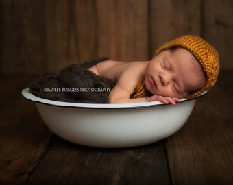 Newborn Photo Props - Newborn Bonnet - Boy Photo Prop - Knit Newborn Bonnet - Knit Newborn Props - Hats for Girls - Mustard Bonnet