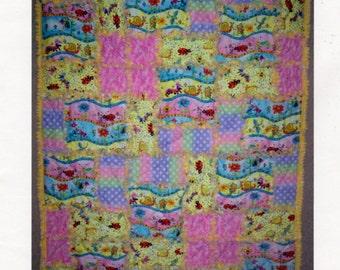 Bright Squares Rag Quilt Pattern, 36 x 48 Rag Quilt, By AC Design Studio, Flannel Rag Quilt Pattern