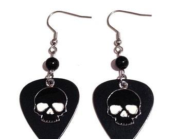Black Metal Guitar Pick Earrings with Enamel Skull Charm and Beads
