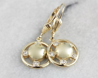 Vintage Diamond Drop Earrings, Versatile and Lovely Drops with Modernist Flair, Polished Yellow Gold  Z5V8YW-P