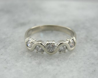 Scrolling Diamond Band, White Gold Modernist Style Wedding Band or Stacking Ring 58TRDM-D