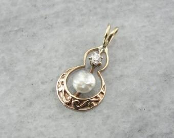 Art Nouveau Lavalier Pendant with Diamond and Pretty Pearl  3QL1ME-D