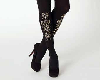 Golden ornament tights / gift ideas for women / Valentine day's gift / plus size tights