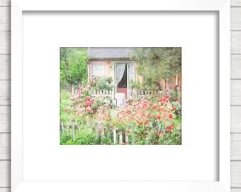 Rustic Cottage Watercolor Art Print, Shabby Chic Cottage Wall Art, French English Rustic Cottage Home Decor, Rustic Rose Garden Watercolor