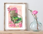 CLEARANCE Sale- Bloom where you are planted Roses Cactus and Succulent vintage chair Illustration gift for her Archival Print