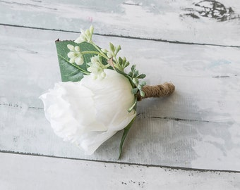 Silk Rose Bud Wedding Boutonniere  - Ivory White Groom Flowers - Any Color and Fillers Wedding Boutonniere