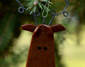 Fused Glass Reindeer Ornament