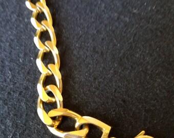 Sale Vintage Christian Dior Bracelet, Gold Plated Chain Bracelet, Dior Logo, Christian Dior Jewelry